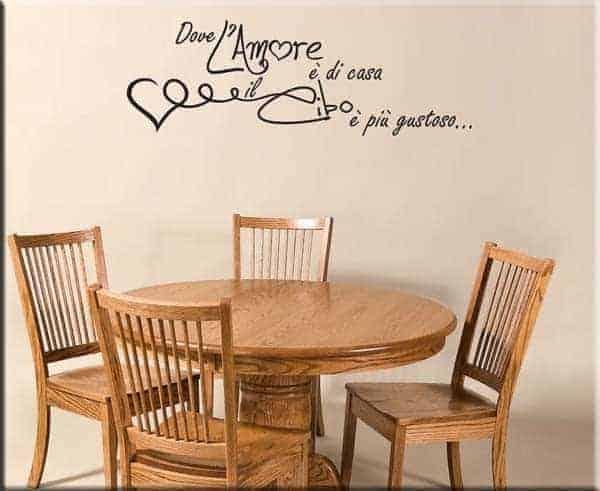 Adesivo da parete frase amore cucina for Adesivi x cucina