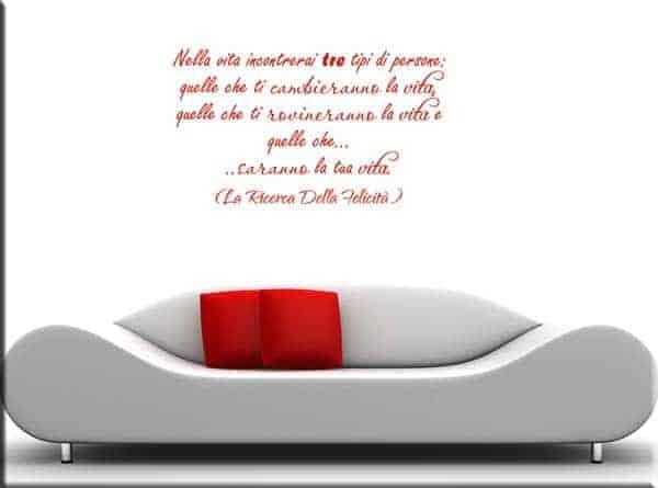adesivo da parete frase la ricerca della felicità