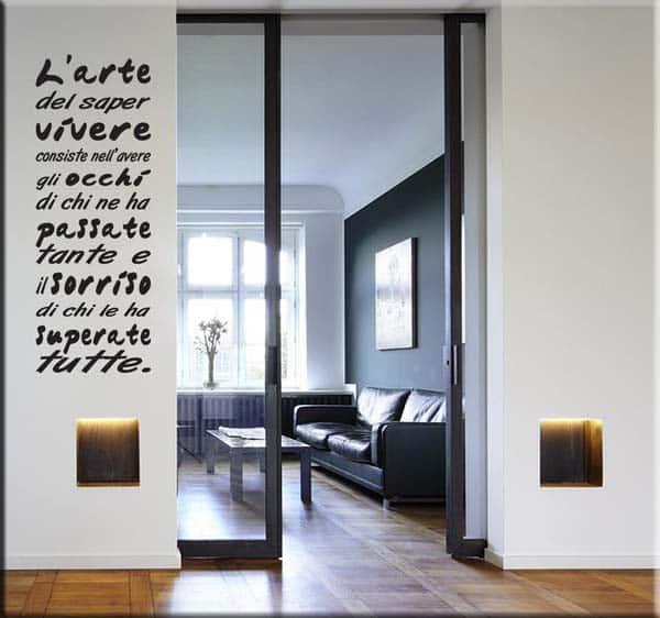 adesivo da parete frase l'arte del saper vivere