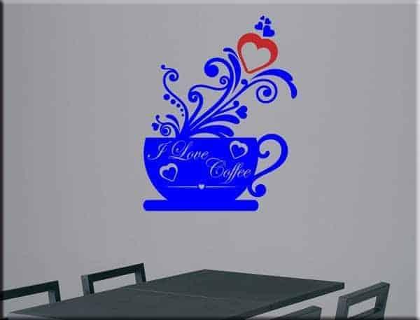 adesivo da parete love coffee bar