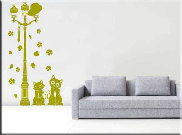 adesivo murale appendiabiti lampione gatti