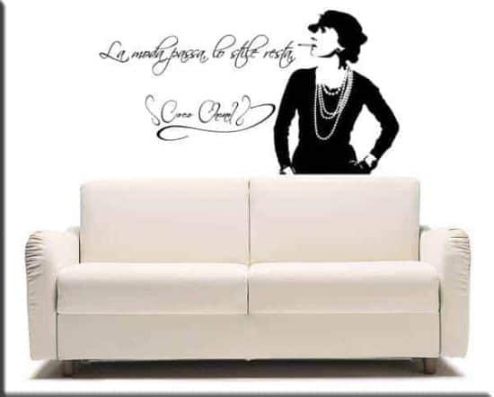 adesivo murale frase Coco Chanel