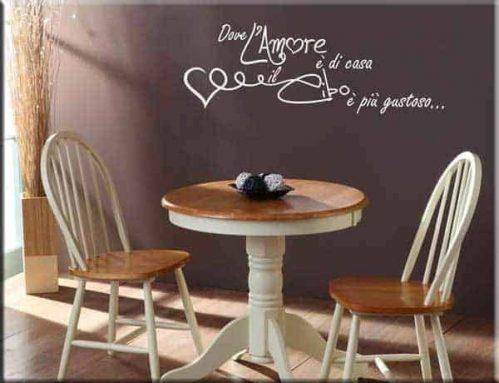 adesivo murale frase amore cucina