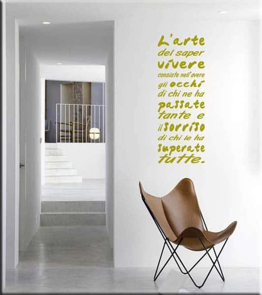 adesivo murale frase saper vivere