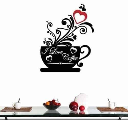 adesivo murale love coffee bar