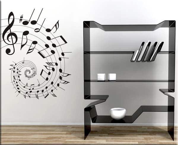 adesivo murale note pentagramma