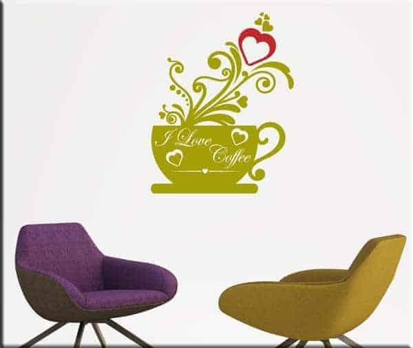 decorazione adesiva da muro love coffee