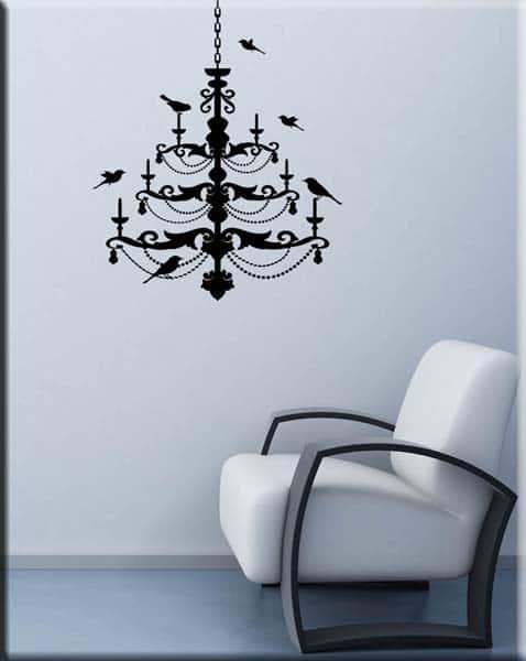 decorazione adesiva murale lampadario