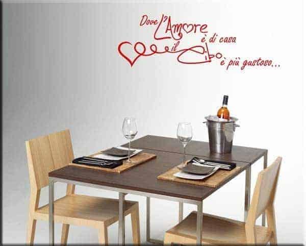 Decorazione murale frase amore cucina for Adesivi x cucina