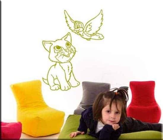 decorazioni adesive bambini cameretta gatto uccellino