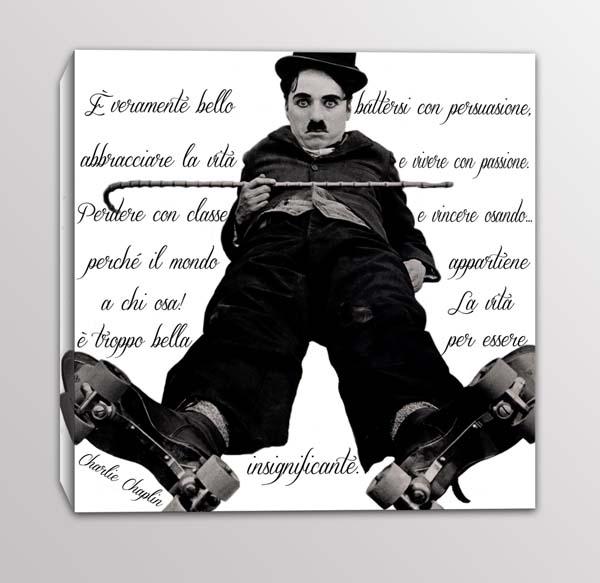 quadro moderno frase Charlie Chaplin
