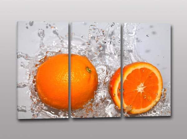 tris quadri moderni arancia