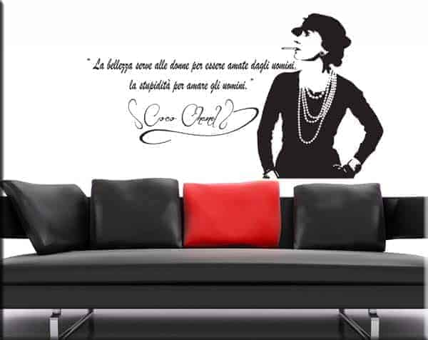 Wall Sticker Frase Coco Chanel Decorazione Da Parete