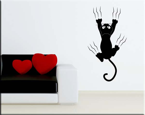 wall sticker gatto su muro