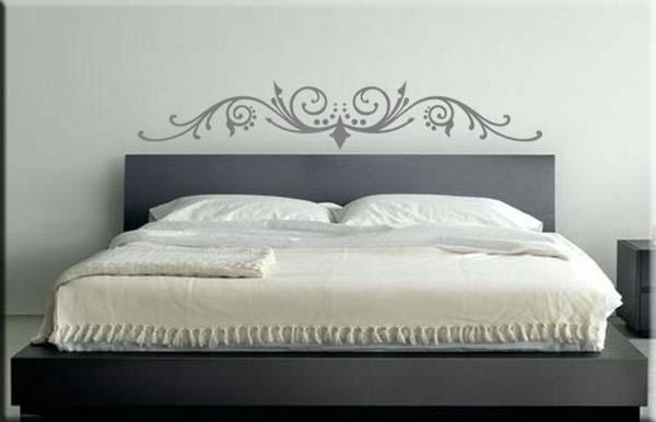 Adesivo murale testata letto da parete arredi murali - Adesivi parete camera da letto ...