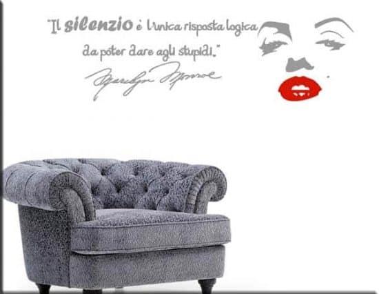 wall stickers adesivo murale frasi marilyn monroe argento