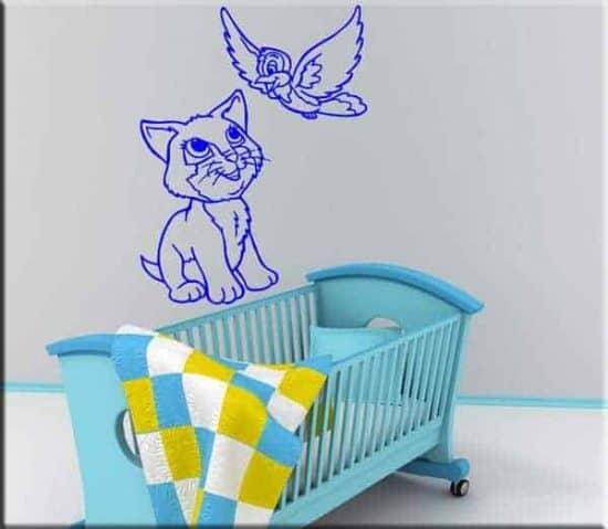 wall stickers bambini cameretta gatto