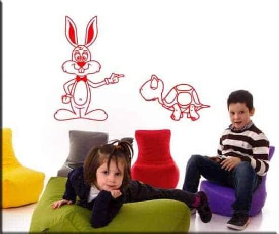 wall stickers bambini lepre e tartaruga rosso