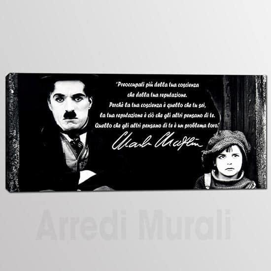 Quadro citazione Charlie Chaplin colore nero scritta bianca volto dell'attore