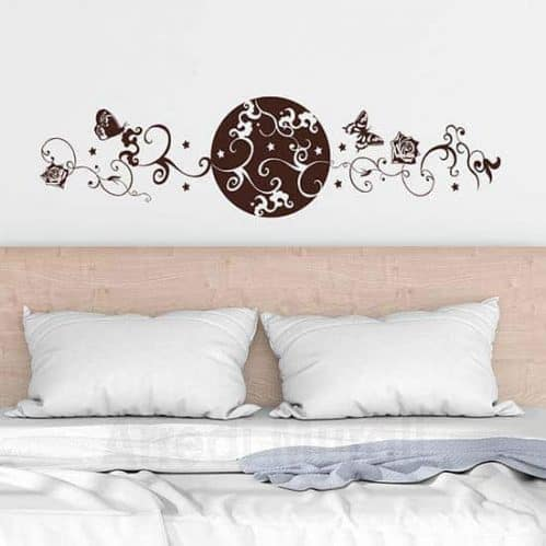 Wall sticker testata letto floreale marrone