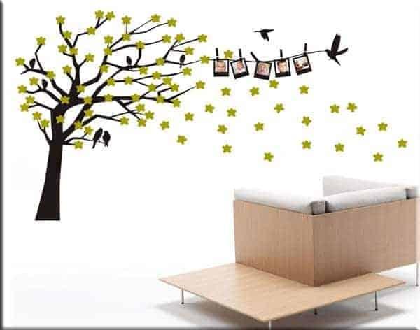 Adesivi da parete albero portafoto e fiori - Albero su parete ...