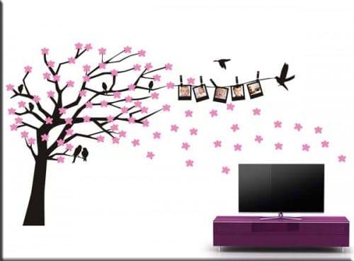 adesivi murali albero e fiori