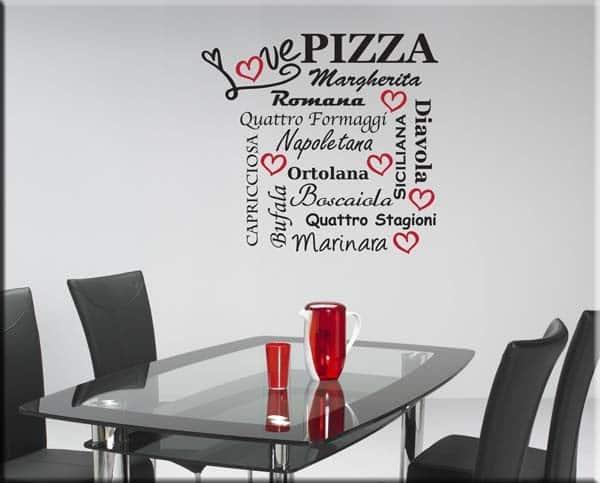Adesivi murali love pizza for Adesivi x cucina