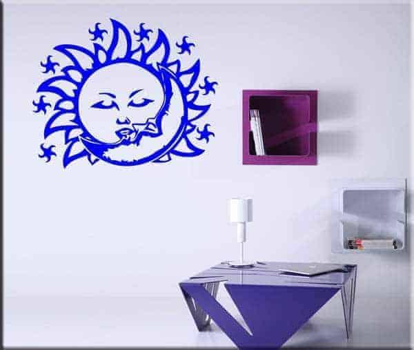 adesivo da parete sole e luna