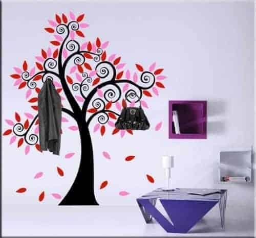 adesivo murale albero appendiabiti