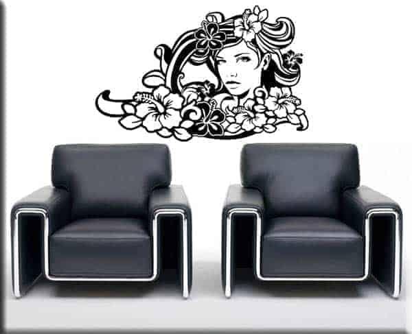 adesivo murale floreale donna