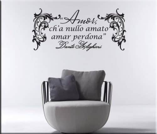 adesivo murale frase Dante Alighieri