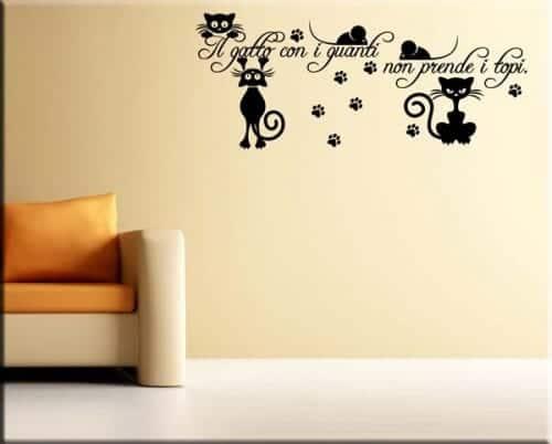 adesivo murale frase gatto
