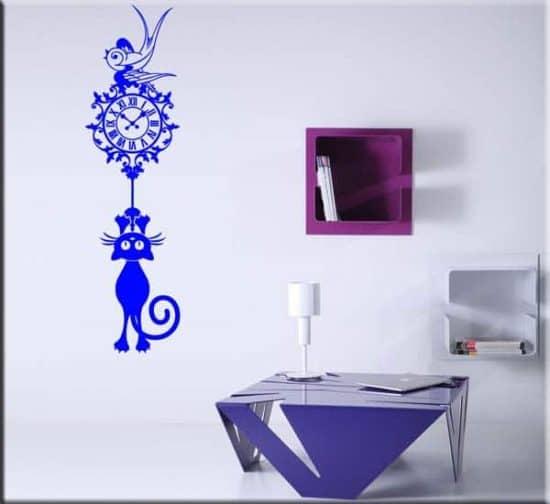 adesivo murale orologio gatto