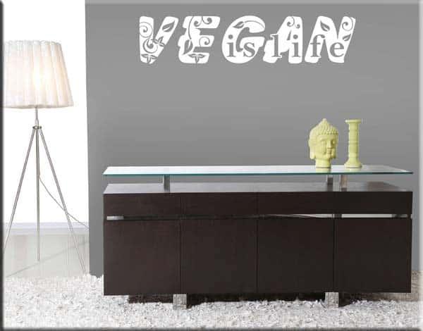 adesivo murale vegan is life