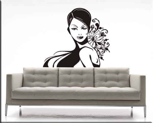 adesivo murale volto donna fiori