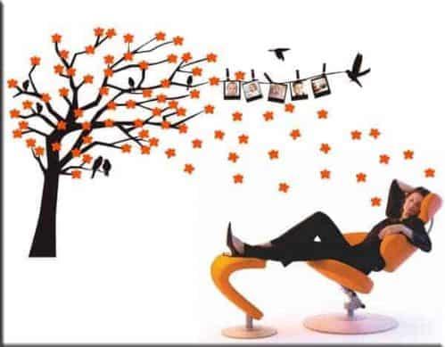 decorazione adesiva albero fiori portafoto