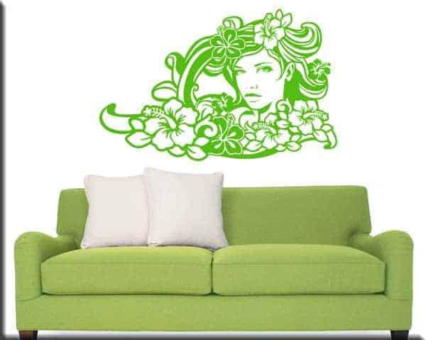 decorazione adesiva da muro volto donna floreale