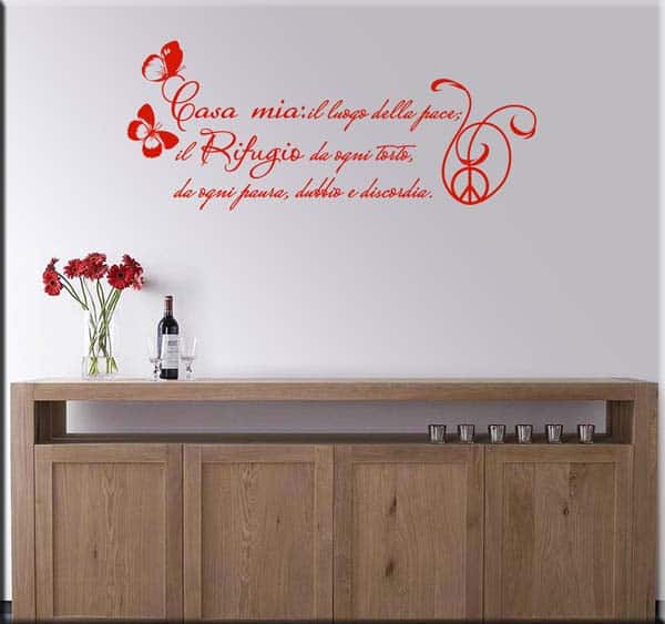 decorazione adesiva frase casa mia