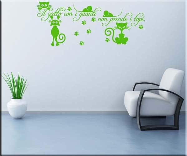 decorazione adesiva murale frase gatto e topi