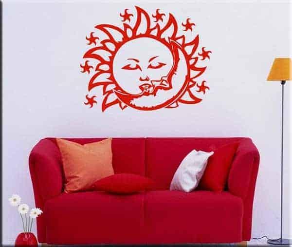 decorazione adesiva murale sole e luna