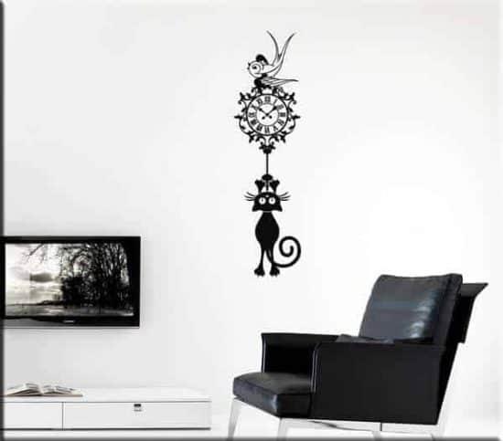 decorazione adesiva orologio gatto