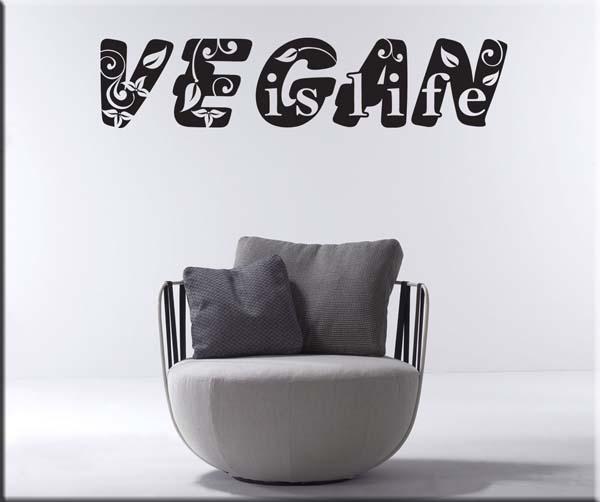 decorazione adesiva vegan is life