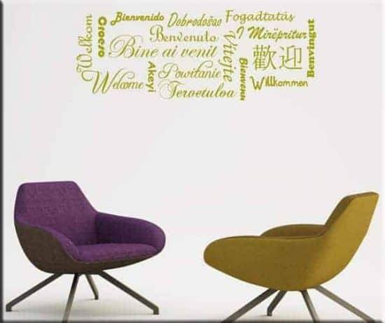 decorazioni adesive benvenuto lingue del mondo