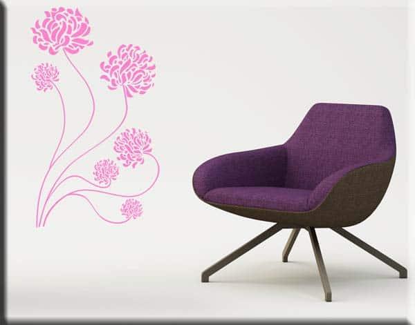 decorazioni adesive fiori stilizzati