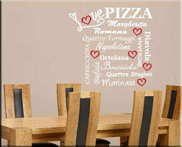 Adesivi murali love pizza for Arredare pizzeria