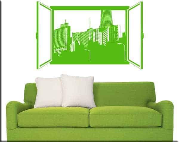 wall sticker finestra sulla città