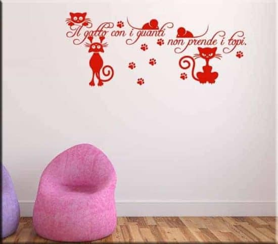 wall sticker frase gatto e topi