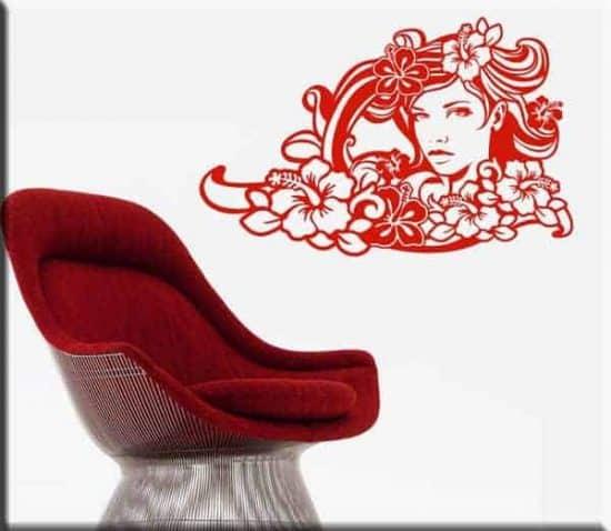 wall sticker viso donna floreale