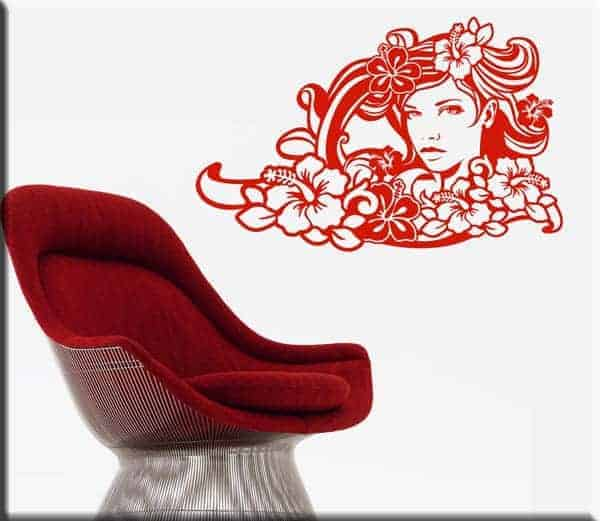 wall sticker viso donna floreale