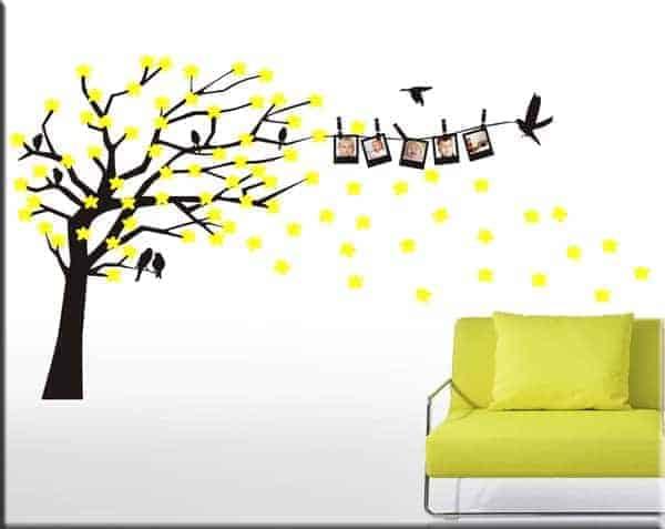 wall stickers portafoto albero e fiori